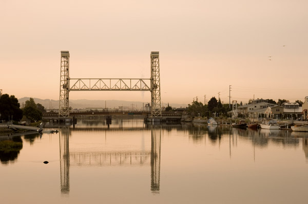 Fruitvale Bridge from Park Street Bridge, Oakland Estuary, Summer 2007